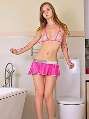 Nubiles.net Alla - Teen Alla teases her wet pussy with the shower head in the bathtub